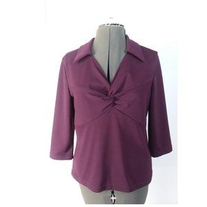 Chadwick's Collection Twist Front Burgundy Top Sm